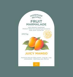 label packaging mango marmalade nature organic vector image