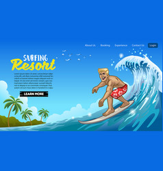 landing page design muscle surfer man play vector image