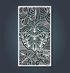 laser cutting rectangular frame with heart and vector image