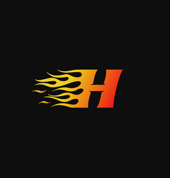 letter h burning flame logo design template vector image