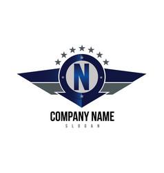 letter n shield logo vector image