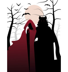 Little red riding hood and wolf in the woods vector