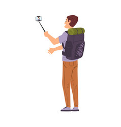 male travel blogger with backpack talking photo or vector image