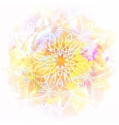 Mandala on watercolor background vector image