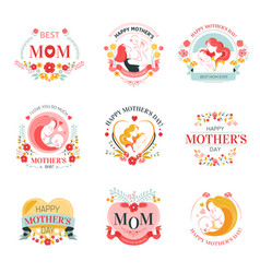 Mothers day holiday isolated icons with woman vector