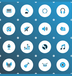 multimedia icons colored set with barrel earmuff vector image