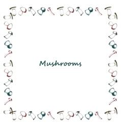 Mushrooms arranged in frame vector image