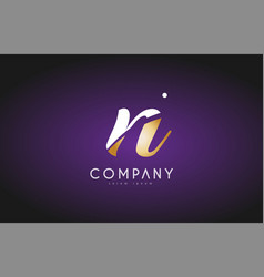 n alphabet letter gold golden logo icon design vector image