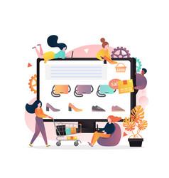 online shop concept for web banner website vector image