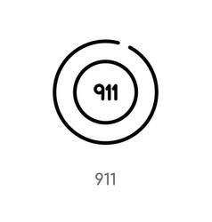 Outline 911 icon isolated black simple line vector