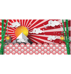 paper art and craft of winter in japan temple vector image