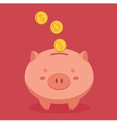 Piggy bank in red background vector