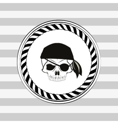 pirate skull emblem image vector image