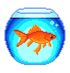 Pixel goldfish in fishbowl isolated vector