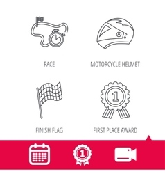 Race flag motorcycle helmet and award medal vector