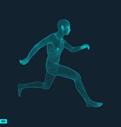 Running man polygonal design 3d grid model vector
