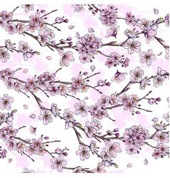 sakura in bloom seamless pattern hand drawn vector image