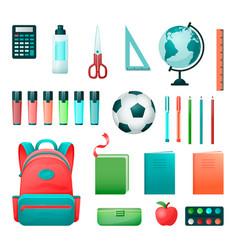 school supplies set in flat style vector image