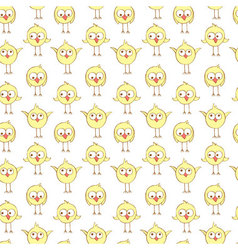 Seamless pattern with cute chikens vector image