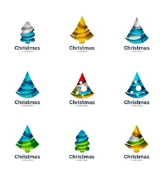 Set of abstract Christmas tree logo icons vector