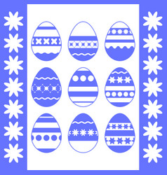 set of blue isolated easter eggs on a white vector image