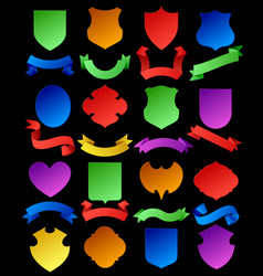 set of colorful cut paper shields and ribbon vector image