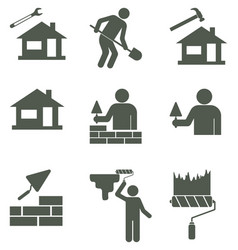 Set of mason worker icons vector