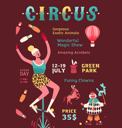 Shapito circus performance promo poster funny vector