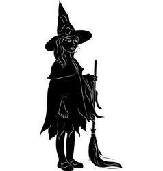 Silhouette of a witch with a broomstick vector