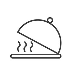 Simple tray with lid for serving food icon vector