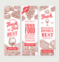 Sketch french food vertical banners vector