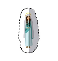 Sticker figure human of saint virgin maria vector