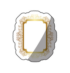 Sticker golden curved rectangle vintage baroque vector