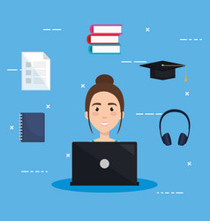 Student using laptop electronic education vector