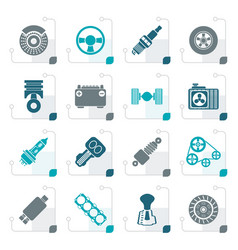 stylized different kind of car parts icons vector image