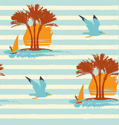 summer seamless pattern with sun palms and surfers vector image
