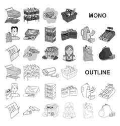 Supermarket and equipment monochrom icons in set vector