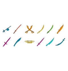 sword icon set color outline style vector image