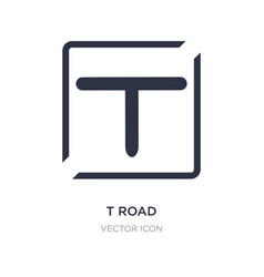 T road intersection icon on white background vector