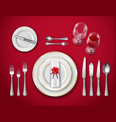 Table place setting on red vector