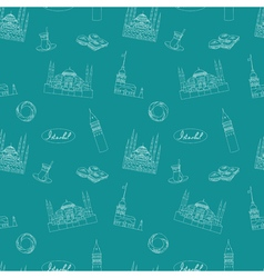 Teal blue istanbul seamless pattern vector
