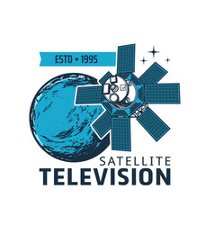 television satellite icon near earth shuttle vector image