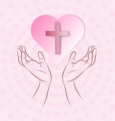 True cross in pink heart floating over human hand vector