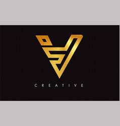 v golden letter modern trendy design logo letter vector image