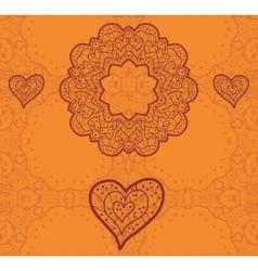Valentine card design ornamental orange flyer love vector