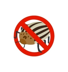 Warning sign with colorado potato beetle icon vector image