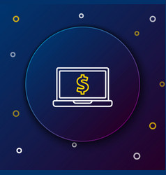 white and yellow line laptop with dollar symbol vector image
