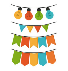 White background with set of party festoon and vector