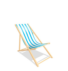 Wooden beach chaise longue isolated on white vector