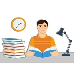Young brown hair boy student reading a book vector image